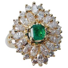 Colombian Emerald Diamond Ballerina Ring Cocktail 18K Gold