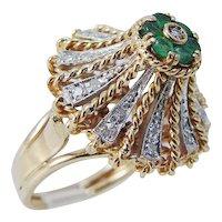 Emerald Diamond Ring 18K Gold Cocktail Vintage Estate