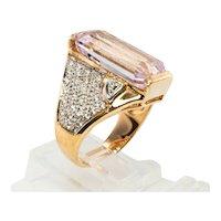Diamond Pink Kunzite Ring 14K Gold Cocktail Band