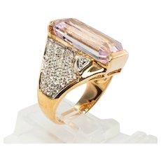 Estate 14K Yellow Gold  Kunzite Diamonds  Cocktail Ring