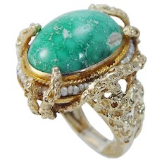 14K Yellow Gold Turquoise Freshwater Seed Pearls Large Cocktail Ring Vintage Jewelry