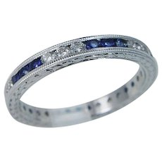14K White Gold Sapphires Diamonds Eternity Wedding Anniversary Band Ring sz.9