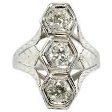 Belais Art Deco Diamond Ring Three Stone 18K Gold