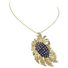 Vintage 14K Yellow Gold Sapphires Diamonds Convertible Pendant Brooch Pin