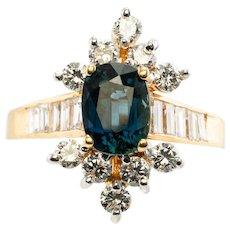 14K Yellow Gold 1.00ct Sapphire 1.05ct Diamonds Estate Ring