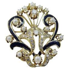 Vintage 14K Yellow Gold Cultured Pearls Diamonds Black Enamel Brooch Pendant Pin
