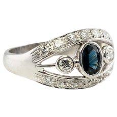 Estate 18K White Gold Sapphire VVS2 G Diamonds Diamond Band Ring
