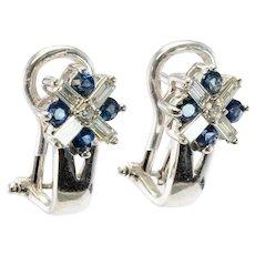 14K White Gold .60ct Diamonds .40ct Sapphires Omega backings Earrings Estate