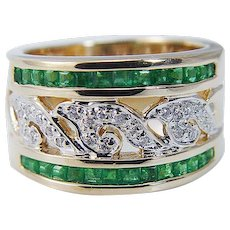 14K White Gold Colombian Emeralds Diamonds Wide Band Ring Estate Jewelry
