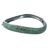 Natural Tsavorite Garnet Pave Bangle Bracelet 14K Yellow Gold Sterling Silver