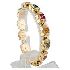 Joshua Charm Bracelet Diamond Ruby Sapphire Tanzanite Citrine 14KYG
