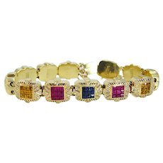 Joshua Charm Bracelet Diamond Ruby Sapphire Tanzanite Citrine 14KYG Vintage