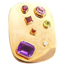 Brooch Pendant Slide Amethyst Diamond Peridot Garnet Citrine 14K Yellow Gold Vintage