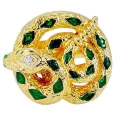 Diamond Snake Ring Green Enamel 18K Yellow Gold Hallmarked BH Vintage