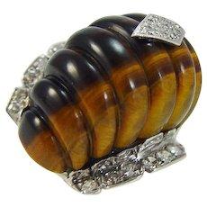 Fluted Tiger's Eye Diamond Ring Huge Cocktail Retro Vintage