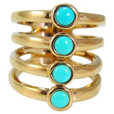 Turquoise Ring 14K Yellow Gold Wide Band Cocktail