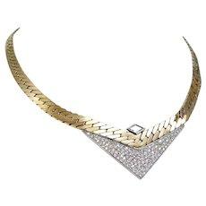 Retro Diamonds Necklace 14K Yellow 18K White Gold Italy Hallmarked Sande