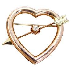 .40ct Old European Miner Cut Diamond Heart Arrow Pin Brooch 14K Rose Yellow Gold