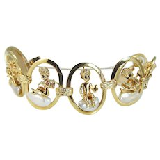 Ruser Retro Pearl Sapphire Cherubs Angels Charm Bracelet 14K Yellow Gold