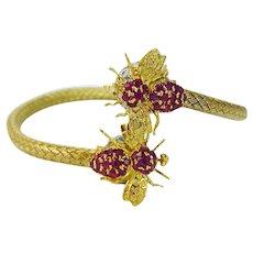 Enamel Ruby Gold Woven Bangle Bracelet Fly Bee 14K Yellow Gold Vintage Flexible