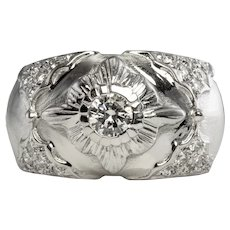Diamond Ring 18K White Gold Band Vintage Estate .54 TDW