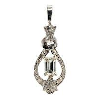 Diamond Pendant 14K White Gold Vintage
