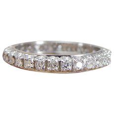 Platinum Diamond Eternity Band Ring Single cut .84cttw Diamonds