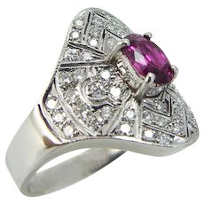 Ruby Diamond Ring Rubies Diamonds 14K White Gold Vintage Millgrain