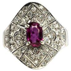 Diamond Ruby Ring 14K White Gold Band Vintage Estate