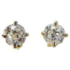 Old Mine cut Diamonds Studs Earrings 1.10ctts 14K Yellow Gold Vintage