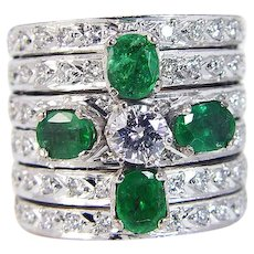 Emerald Diamond Ring Band 14K Yellow White Gold Wide Huge Cocktail