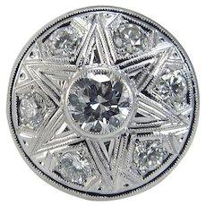 Diamond Platinum Ring .90ct center 1.50cttw  Vintage Mid-Century VVS2 G