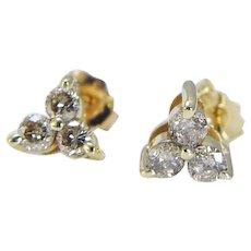 Three Diamonds Earrings Studs .60cttw 14K Yellow Gold