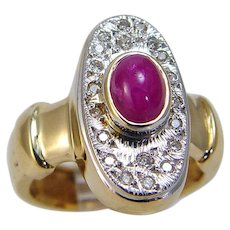 Ruby Diamond Ring Cabochon 14K Yellow and White Gold