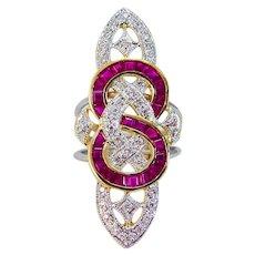 Ruby Diamond Ring Long 18K Gold Platinum Vintage Cocktail