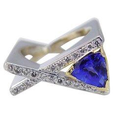 Tanzanite Diamond Ring Square Band 14K White Gold Unique
