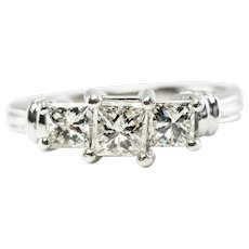 Engagement Natural Diamond Ring Band Platinum Princess cut Wedding
