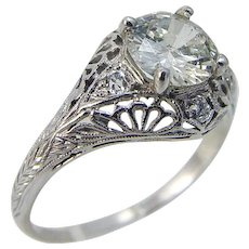 Diamond Ring 1.25ct Vintage Engagement 18K White Gold Old mine cut