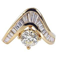 Diamond Ring V-shaped 2.38cttw Old European cut 18K Yellow Gold