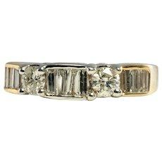 Diamond Ring 14K Gold Band Vintage Engagement .88 TDW