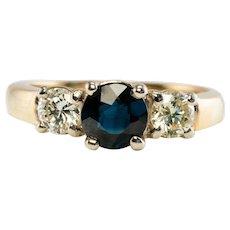 Natural Blue Sapphire Diamond Ring Band 14K Yellow Gold