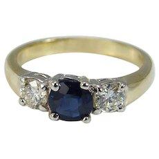 Sapphire Diamond Ring Band .60ct Diamonds 14K Yellow Gold