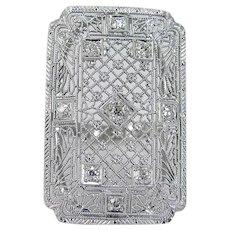 Platinum Old Mine cut Diamond Ring Huge Cocktail Filigree