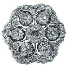Art Deco Diamond Ring Old Mine cut 14K Yellow Gold Platinum 2.23cttw