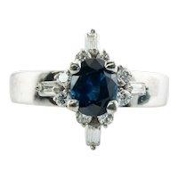 Diamond Blue Sapphire Flower Ring 14K White Gold