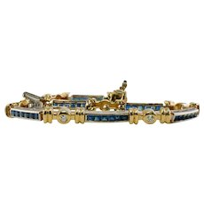 Natural Sapphire Diamond Bracelet 14K Yellow White Gold
