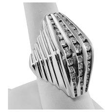 Retro Huge Diamond Ring Vintage 14K White Gold 2.10cttw
