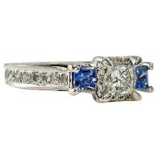 Diamond Sapphire Ring 14K White Gold Band Vintage
