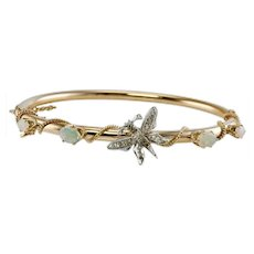 Diamond Opal Butterfly Bracelet Jewelry 14K Gold Bangle