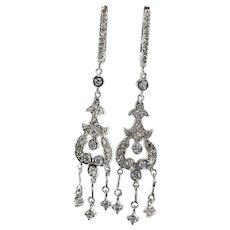 Diamond Chandelier Earrings 18K White Gold Dangle